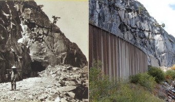 Left: Alfred A. Hart (1816–1908), Heading of East Portal, Tunnel No. 8, from Donner Lake Railroad, Western Summit, c. 1865–1869. Right: Li Ju (b. 1959), Heading of East Portal, Tunnel No. 8, from Donner Lake Railroad, Western Summit (Hart photo #204), September 26, 2013. Courtesy of the Stanford University Archives, Alfred A. Hart Photograph Collection; Courtesy of Li Ju