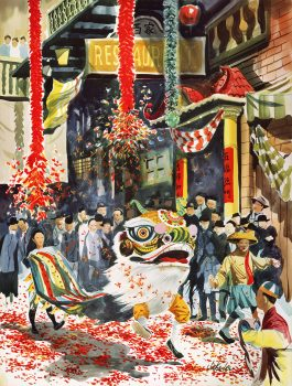 Lion Dance at New Year's painting by Jake Lee, CHSA Collection