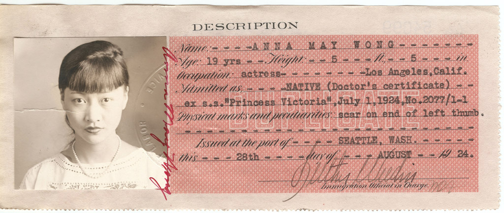 Anna May Wong - Certificate of Identity National Archives Identifier: 5720287 8/28/1924 National Archives, San Bruno Image can be found here: http://research.archives.gov/description/5720287
