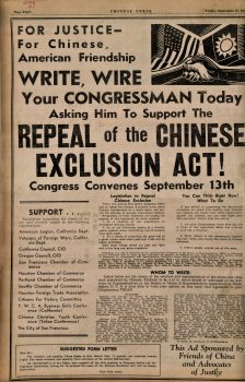 Chinese Press ad, Repeal Exclusion Act, 1943