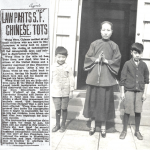 "Photos: (left) 1925 Newspaper clipping saved by Mrs. Lee Yoke Suey's daughter Mary. (right) Mrs. Lee Yoke Suey in San Francisco with two of her ""tots"", Fred and Vincent, 1926, a year after she was released from detention on Angel Island. Courtesy Connie Young Yu."